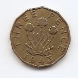 "Marea Britanie 3 Pence 1943 - George VI (with ""IND:IMP"") JM1, 21.8 mm KM-849, Europa"