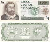 RARR :  NICARAGUA  -  1/2  CORDOBA  (1992)  -  P 172  -  UNC / FLORI PE VERSO