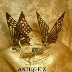 Set sfesnice fluturasi alama/bronz, fluture deco vermeil dore, vintage