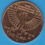 (M1044) MONEDA GERMANIA-10 EURO 2013,LIT. A,150 ANI CRUCEA ROSIE,PLACATA CU AUR, Europa