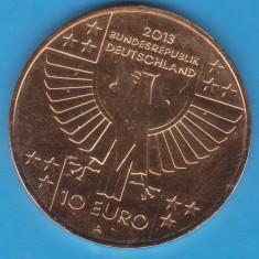 (M1044) MONEDA GERMANIA-10 EURO 2013, LIT. A, 150 ANI CRUCEA ROSIE, PLACATA CU AUR, Europa