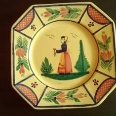 FARFURIE RUSTICA DECORATIVA DIN CERAMICA FINA DE QUIMPER PICTATA MANUAL SEMNATA - Arta Ceramica
