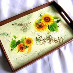 Tava lemn decorata - floarea soarelui -27592