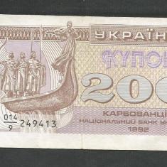 UCRAINA 200 CUPON KUPON KARBOVANETS 1992, VF [1] P-89a - bancnota europa