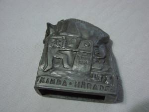 Taur sculptat in staniu inscriptionat Kinda Harads 1966