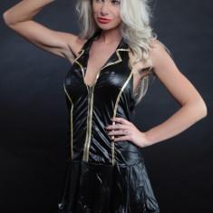 Lenjerie Lady Lust Sexy 176 Costum Hostess Stewardeza Babydoll Piele PU Rochie - Lenjerie sexy femei