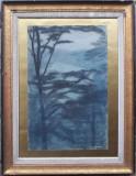 Seara printre copaci - semnat  Incze Ferenc 1970, Peisaje, Pastel, Altul