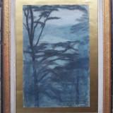 Seara printre copaci - semnat Incze Ferenc 1970 - Pictor roman, Peisaje, Pastel, Altul