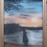 Femeie in peisaj, pe inserat - semnat I.M.Valsan - Pictor roman, Peisaje, Ulei, Altul