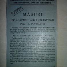 PLIANT- MASURI DE APARARE PASIVA OBLIGATORII PENTRU POPULATIE, CCA 1940 - Pliant Meniu Reclama tiparita