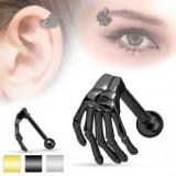 Piercing din oțel pentru ureche sau sprânceană, mână de schelet, culori diverse