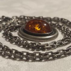 Medalion Chihlimbar in montura de argint Finut de Efect pe Lant argint Superb