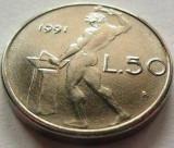 Moneda 50 Lire - ITALIA, anul 1991 *cod 891 a.UNC+, Europa