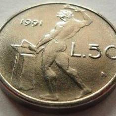 Moneda 50 Lire - ITALIA, anul 1991 *cod 891 a.UNC+