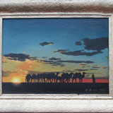 Caravana in apus de soare - semnat St.Bucia 1966 - Pictor roman, Peisaje, Ulei, Altul