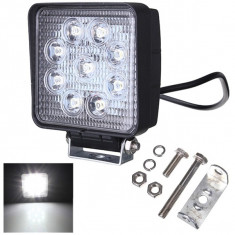 Proiector LED auto Offroad patrat 27W, Universal