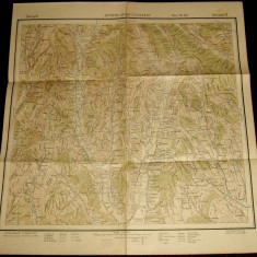 1930 Harta militara ZATRENII DE SUS si GIULESTI, judetul Valcea, format 50x48 cm