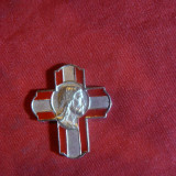 Cruciulita Iisus Christos, emailata, h= 2, 8 cm, metal si email - Metal/Fonta