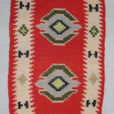 Covor 78X38 cm, tesut cu motive folclorice; Carpeta din lana; Covoras Vintage - Covor vechi