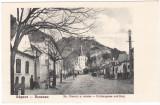 #1876- Romania, Rosenau, Rasnov cp. necircul: Str. Bisericii si cetatea, animat, Necirculata, Fotografie