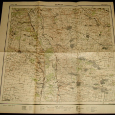 Anii 30, Harta militara SEGARCEA, judetul Dolj, format 50x48 cm