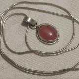 Medalion argint cu Cuart roz Finut Elegant de Efect pe Lant argint vintage