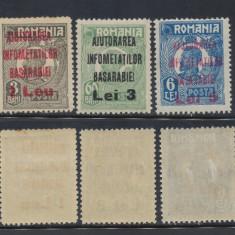 1923 ROMANIA Infometatii Basarabiei neemise 3 v supratipar uzuale Ferdinand - Timbre Romania, Aviatie, Nestampilat