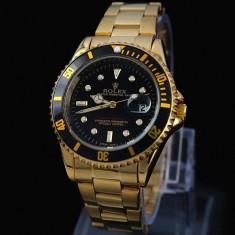 CEAS ROLEX SUBMARINER GOLD&ALL BLACK-SUPERB-PRET IMBATABIL-CALITATEA1-POZE REALE - Ceas barbatesc Rolex, Elegant, Quartz, Placat cu aur, Data