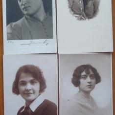10 carti postale tip fotografie cu domnisoare interbelice, Necirculata, Romania de la 1950
