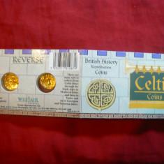 2 Monede aur celtice - Copii Firma Westair, oficiale, in etui, cu explicatii