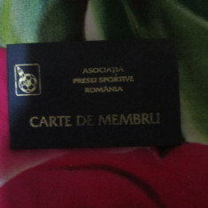 Carte de membru la asociatia presei sportive nicolae ardelean 1995 - Pasaport/Document, Romania de la 1950