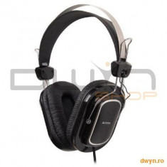 A4Tech HS-200, Headphone, Volume control, Microphone, Casti On Ear, Cu fir, Mufa 3, 5mm, Active Noise Cancelling