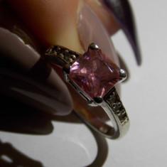 Inel argint cu zirconiu roz - 681