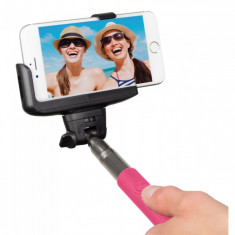 Selfie stick Kitvision extensibil cu control actionare shutter pe bluetooth si suport de telefon, Roz