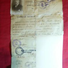 Certificat Medical 1926 Corpul 4 Armata, Divizia 5, Regiment 8 Dragos, stampila - Hartie cu Antet
