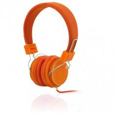 Casti cu microfon I-BOX D-12 ORANJ 1-PLUG, Casti On Ear, Cu fir, Mufa 3, 5mm