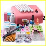kit unghii false cu 12 gel color  set manichiura lampa uv