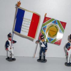 4 soldati de plumb Hachette napoleonieni, cu drapele Altele, Unisex