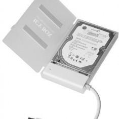Cablu adaptor SATA la 1xUSB 2.0, alb + carcasa HDD alba - Rack HDD Raidsonic