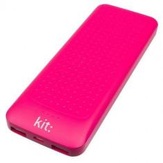 Baterie externa Kit Essential cu mufa USB 10000 mAh, Roz