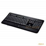 Tastatura Logitech Wireless Illuminated Keyboard K800 black, Fara fir, USB, Tastatura iluminata