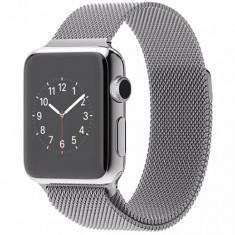 Smartwatch Apple 38 mm carcasa din otel inoxidabil si curea magnetica milanese argintiu