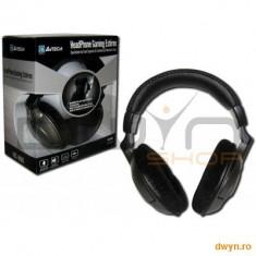 Casti A4TECH HS-800 Stereo Gaming, microfon + control volum pe fir, Casti On Ear, Cu fir, Mufa 3, 5mm, Active Noise Cancelling