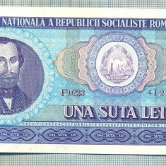 A1321 BANCNOTA-ROMANIA(RSR)- 100 LEI- 1966 -SERIA412270 -starea care se vede - Bancnota romaneasca
