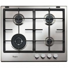 Plita incorporabila Whirlpool Ambient GMA 6422 IX, Gaz, 4 Arzatoare, 60 cm, Gratare fonta, Inox, Argintiu, Numar arzatoare: 4