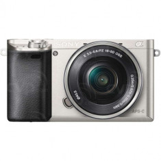 Camera foto Sony A6000 Silver + obiectiv SEL 16-50mm, rezolutie 24.3 MP, senzor Exmor APS HD CMOS, p - Aparat Foto compact Sony