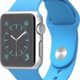 Apple Apple Watch sport 38 mm carcasa din aluminiu argintiu curea sport albastra