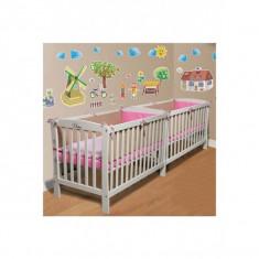 Patut copii lung pentru gemeni - Patut lemn pentru bebelusi Mesterel, Altele, Alte dimensiuni, Alb