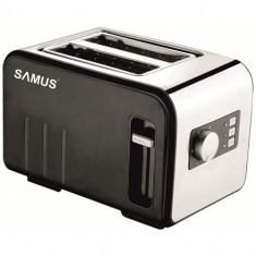 Prajitor de paine Samus DAILY, Putere 800W, Capacitate 2 felii, 6 trepte de prajire, Dezghetare, Reincalzire, Inox