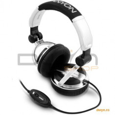 White/Silver, Headset CANYON CNR-HS11N (20Hz-20kHz, Ext. Microphone, Cable, 2.4m) White/Silver, Ret., Casti On Ear, Cu fir, Mufa 3, 5mm, Active Noise Cancelling